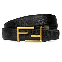 Samplefine2 FENDI Men Woman Fashion Double F Letter Smooth Buckle Leather Belt
