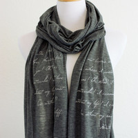 Wuthering Heights Scarf - Knit Jersey Raw Edged Scarf - Emily Bronte Quote