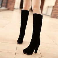 Black Platform Knee High Boots High Heels Shoes Woman 3293 3293