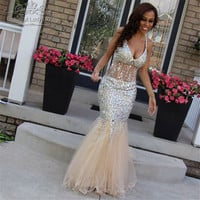 Luxury Colorful Rhinestones Mermaid Prom Dresses Backless See Through Floor Length Sexy Long Prom Dress African Party Gowns