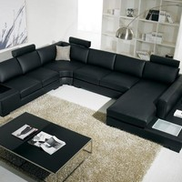 Divani Casa T35 - Modern Bonded Black Leather Sectional Sofa With Light