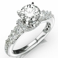2.36 Carat Designer Four Prong Round Diamond Engagement Ring w/ Round Brilliant Cut Center (J Color SI3 Clarity)