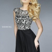 Sherri Hill 32320 Short Dress Silver Crystals Bateau Neckline Cap Sleeves