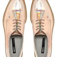 Miista Zoe Gold Flat Lace Up Shoes