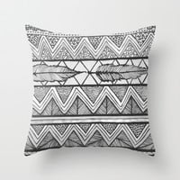 Two Feathers Monochrome Throw Pillow by Lisa Argyropoulos