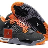 Cheap Nike Air Jordans 4 Retro Men Gray Orange White Shoes