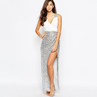 Casual Sequined Sleeveless High Slit Maxi Dress
