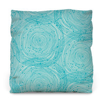 Turquoise Spirals Outdoor Throw Pillow