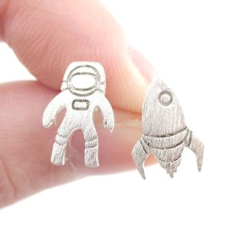 Spaceship and Astronaut Space Travel Themed Stud Earrings in Silver | DOTOLY