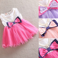 Toddler Kids Girl Princess Bow dresses Necklace One Piece Pageant Tutu Dress 0-3Y