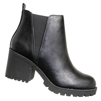 Origami Chunky Lug Sole Chelsea Boots - Pull On Stretched V Side Panel Bootie