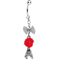 Handcrafted Paris Love Rose Dangle Belly Ring | Body Candy Body Jewelry