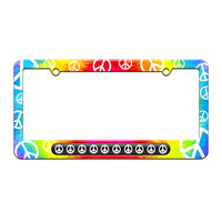 Peace Signs - License Plate Tag Frame - Tie Dye Peace Signs Design
