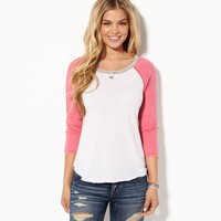 AE Contrast Baseball T-Shirt, Confetti Pink   American Eagle Outfitters