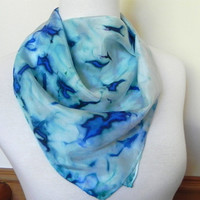 Islands of blue hand dyed square silk scarf, 21 inch square silk scarf #410, ready to ship