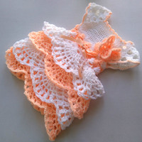 Baby dress in peach and white colors, newborn dress, infant clothes,crochet baby girl dress, birthday outfit, take home dress