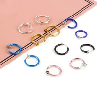 Hot sale 1pcs Universal Spring Wrap Captive Septum Nose Ear Cartilage Tragus Stud Steel Clip Earrings Body Piercing Jewelry