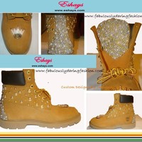 Gold Studs Ivory Pearl Timberlands with Crowns