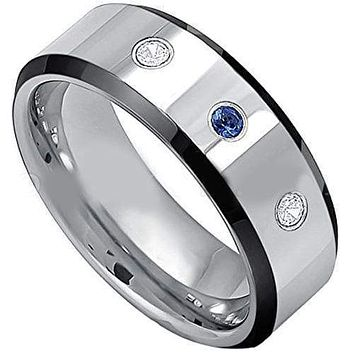 Silver Band Ring Tungsten Carbide Black Silver With Blue Sapphire & Genuine Diamond