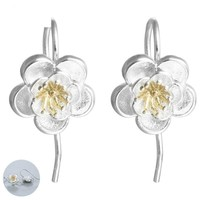 Cherry Blossom 925 Sterling Silver Plated Drop Earrings with Copper Accents