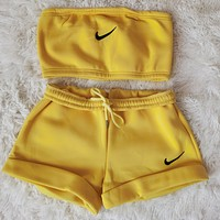 NIKE women new fashion printing casual sports two-piece suit Yellow