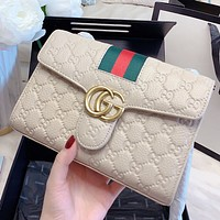 GUCCI New fashion stripe more letter leather chain shoulder bag crossbody bag Beige