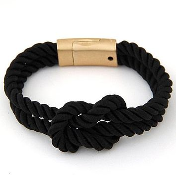 New Arrive DIY Rope Black Blue Anchor Wrap Multilayer Nylon Cord Bracelet For Men Women