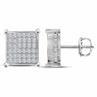 10kt White Gold Women's Round Diamond Square Cluster Stud Earrings 1-1-2 Cttw - FREE Shipping (USA/CAN)