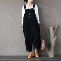 ICIKLW8 Women Autumn Winter Cotton Corduroy Vintage Rompers Jumpsuits Retro Solid Color Loose Overalls Ladies Washed Pants Trousers
