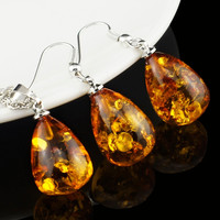 Women's Fashion Amber Tear Drop Baltic 18k Platinum Plated Pendant Necklace Earring Wedding Jewelry Set L40701