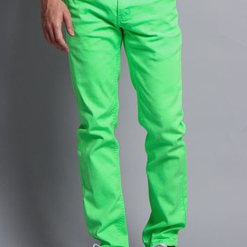 Men's Skinny Fit Colored Jeans (Neon Green)