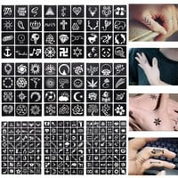 1 Sheet 48 or 12 maps Henna Tattoo Templates Temporary Glitter Airbrush Henna Tattoo Hand Finger Stencil For Painting #242097