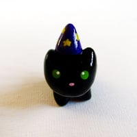 Black Cat Wizard Hat Polymer Clay Charm by MadAristocrat on Etsy
