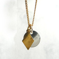 Geometric Necklace, Modern Necklace, Gold Plated Rhombus, Two Charms Necklace, Sterling Silver 24K Gold Plated Jewelry from Germany, Artida