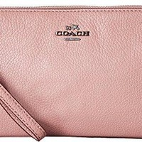 COACH Womens Polished Pebbled Double Zip Wallet