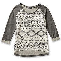 Miss Chievous Tribal Burnout Pullover Sweatshirt - Grey
