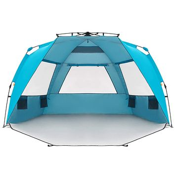 Easthills Outdoors Instant Shader Enhanced Deluxe XL Easy Up 4 Person Beach Tent Sun Shelter UPF 50+ Double Silver Coating with Extended Zippered Porch Pacific Blue