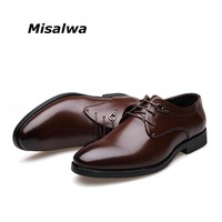 Misalwa 2017 Hot Sale Spring Autumn Men Leather Oxford Shoes Men Dress Business Shoes Formal Shoes Pointy Shoes Big Size 38-45