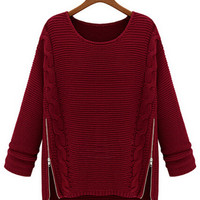 Long Sleeve Side Zipper Knit Sweater