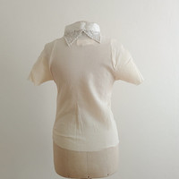 Marc Le Bihan couture crêpe silk top with laces collar