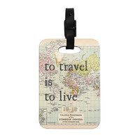 "Catherine Holcombe ""To Travel Is To Live"" Color Map Decorative Luggage Tag"