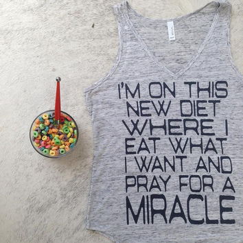 miracle diet,workout tank, workout tank top, fitness tank, gym tank, running tank, workout tanks, gym tank top, funny shirts, trending