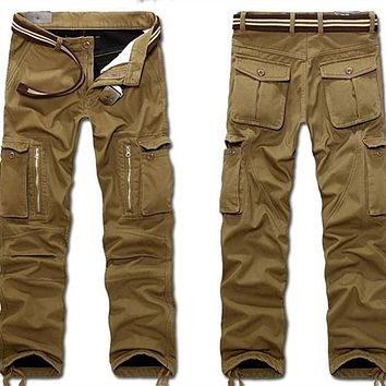 Winter fleece linned thermal Men Overalls Cargo Pant Warm Pant Full Length Multi Pocket Casual Baggy Tactical Trousers Plus size