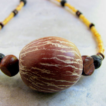 Betel Nut Palm Seed Necklace, Tropical Nature Jewelry