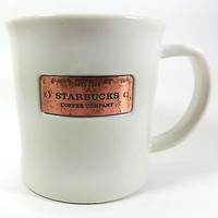 Copper Plate Starbucks Coffee Company Mug Cup 16oz White 2010 Limited k209