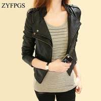 ZYFPGS 2018 Female Jacket Black Leather Fabric Jackets For Women Fashion Casual Slim Fit Autumn New XL Warm Bomber Jacket Z0807