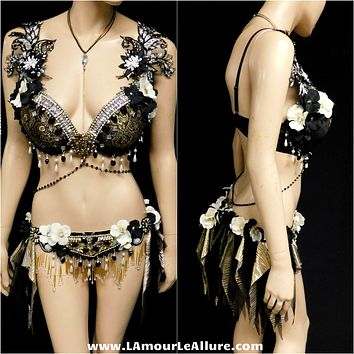 Black and Gold Gypsy Forest Fairy Dance Chain Rave Bra and Skirt Halloween Costume