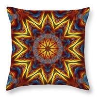 Custom made decorative  throw pillow. Native pattern, colorful star kaleidoscope print.