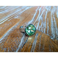 Handmade Antiqued Silver Ring With Christolite Swarovski Crystal