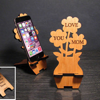 Personalized Mothers Day Gift - Flower Bouquet Phone Stand For Moms Phone with Message On Back - Phone Dock - Fits all iPhone and Galaxy